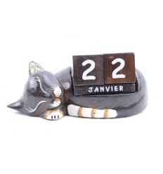 Calendrier perpétuel Chat endormi en bois sculpté