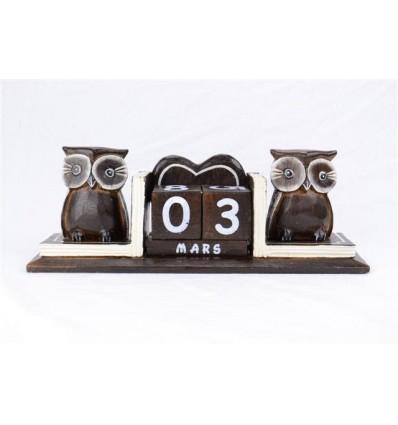 Calendrier perpétuel 2 statuettes hiboux en bois
