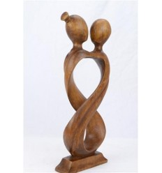Statue abstraite couple Amour Infini h20cm en bois massif teinte marron