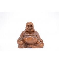 Statuette miniature du Bouddha chinois en bois massif H6,50cm