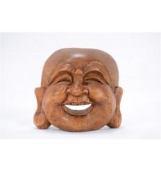 Tête de Bouddha chinois (Happy Bouddha) en bois massif H6,50cm