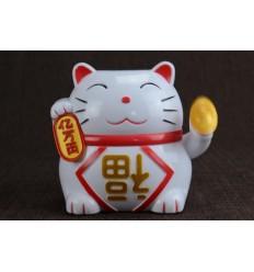 Maneki neko solaire / Chat japonais blanc porte bonheur