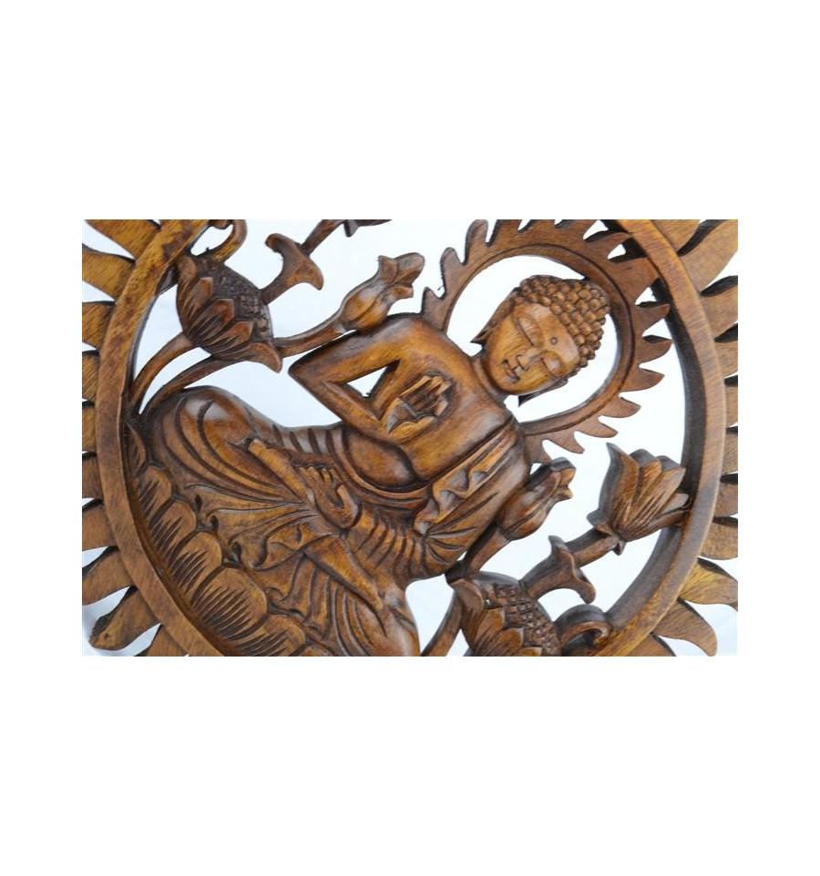 d cor mural bouddha en bois massif sculpt main 30cm ebay. Black Bedroom Furniture Sets. Home Design Ideas