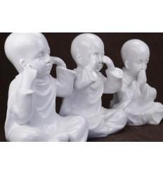 """Les 3 Moines """"secret du bonheur"""". Statuettes en resine laquee blanc h20cm"""