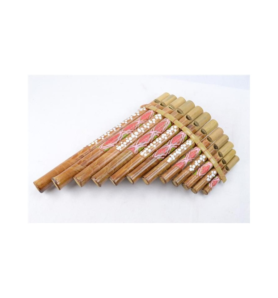 Flute de pan en bambou 12 becs motif peint la main - 100 pics solution instrument de musique ...