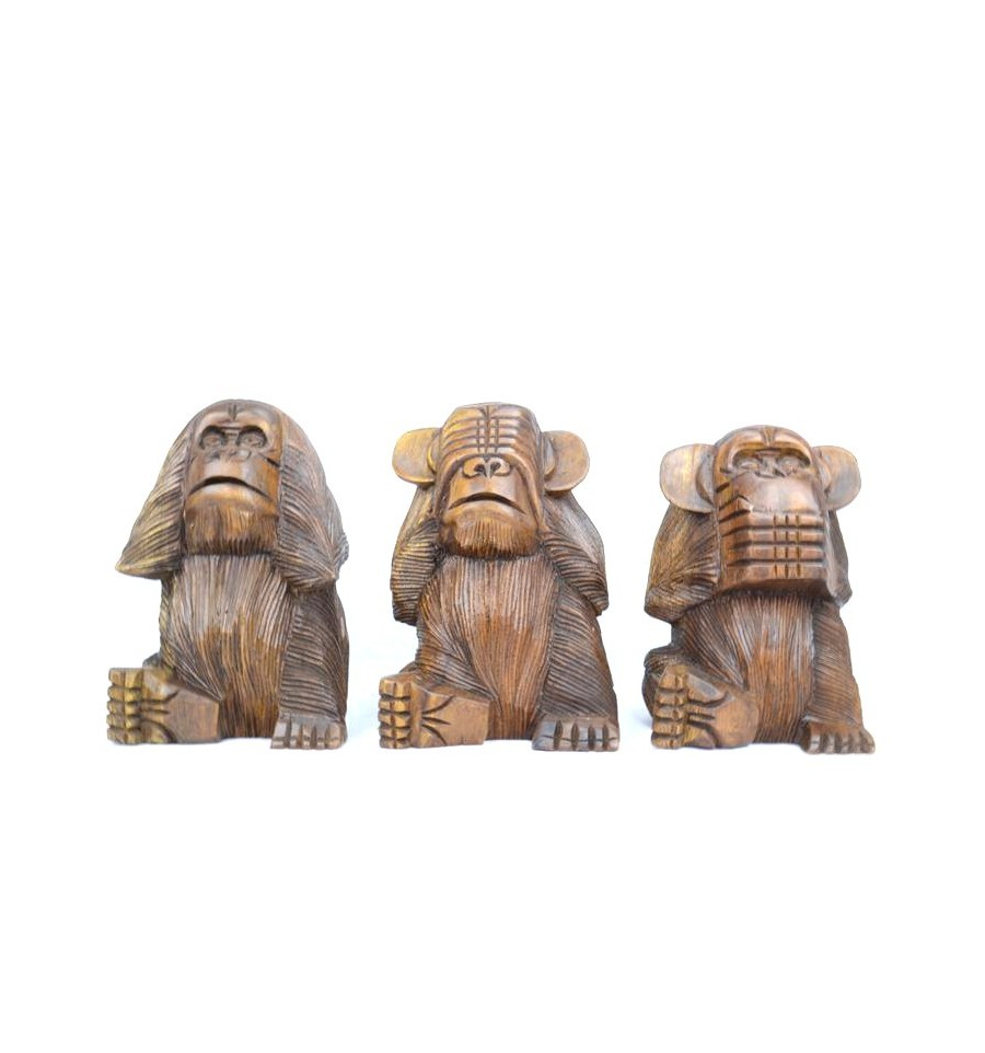 d co statues les 3 singes de la sagesse en bois maisons du monde. Black Bedroom Furniture Sets. Home Design Ideas