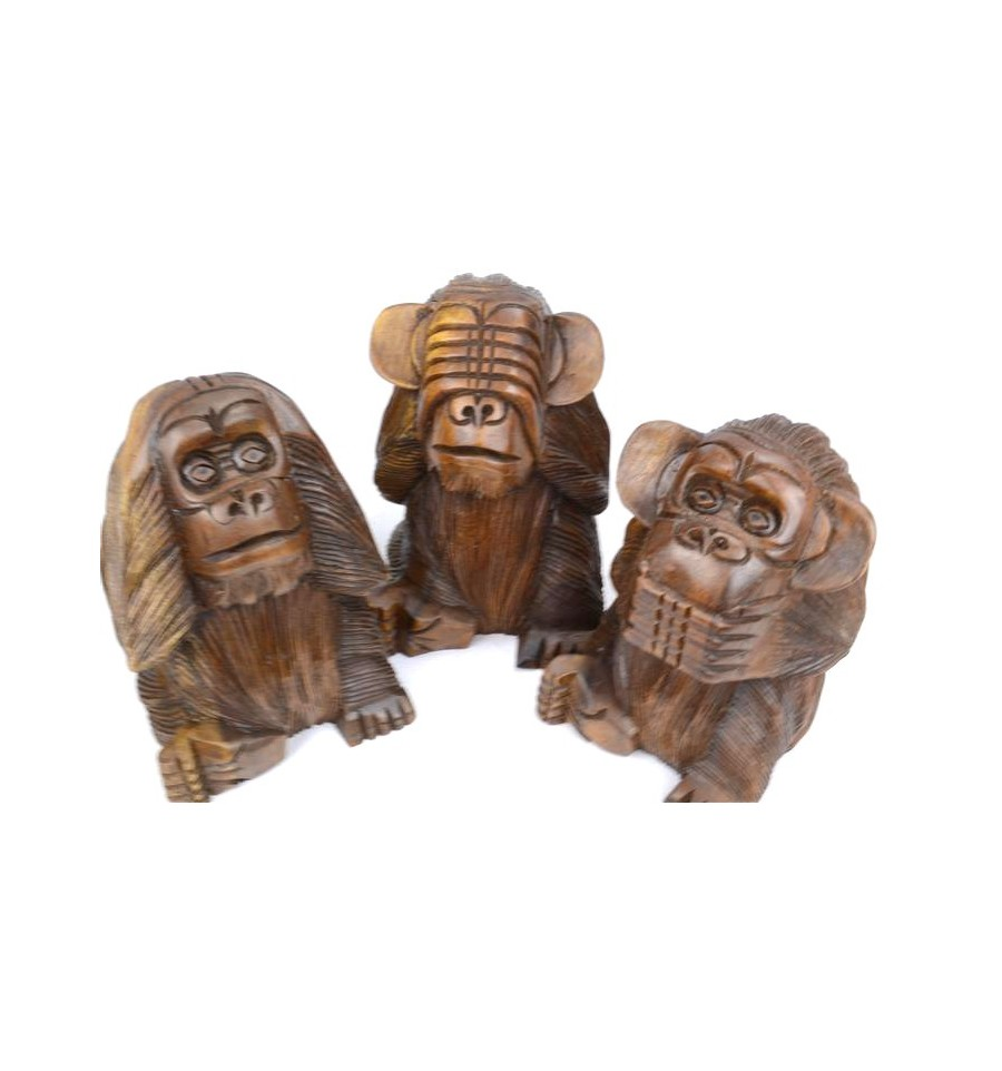 d co statues les 3 singes de la sagesse en bois maisons. Black Bedroom Furniture Sets. Home Design Ideas