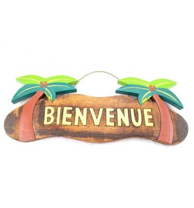 """Plaque de porte en bois """"Bienvenue"""" decor cocotiers"""