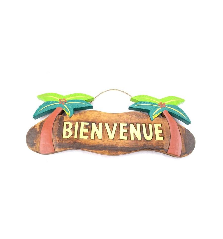 Achat plaque de porte artisanale en bois exotique for Decoration porte bienvenue