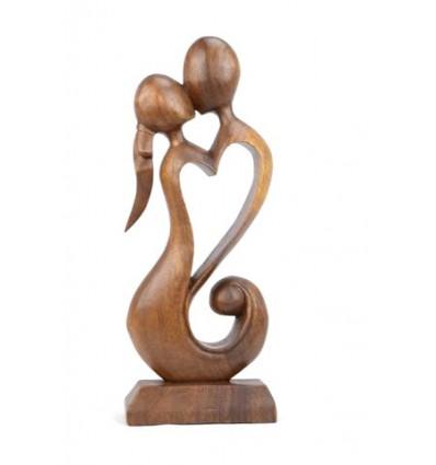 Statue abstraite Couple en Fusion h30cm en bois massif sculpté main
