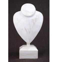 Buste présentoir a collier sur pied en bois finition blanc cérusé H30cm