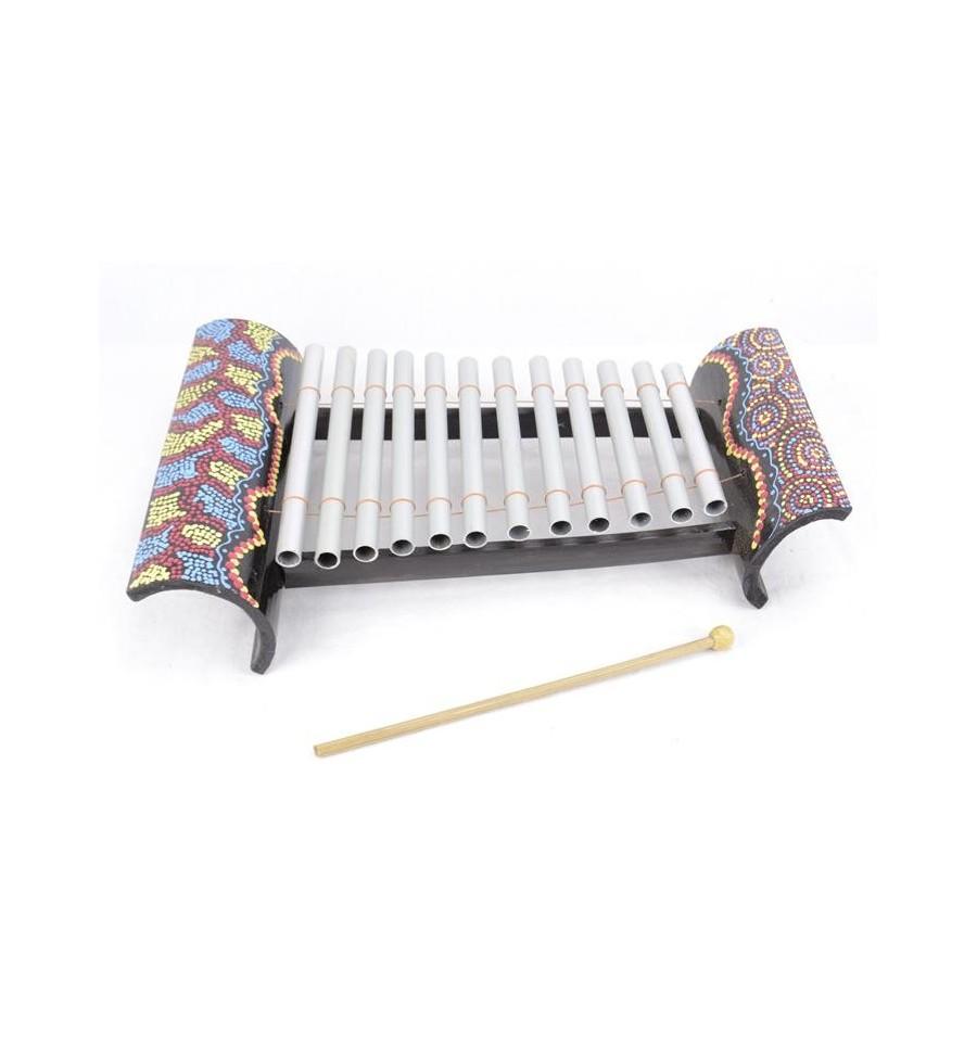 Xalyphone artisanal en bambou et m tal avec d cor peint for Fabrication d objet en bambou