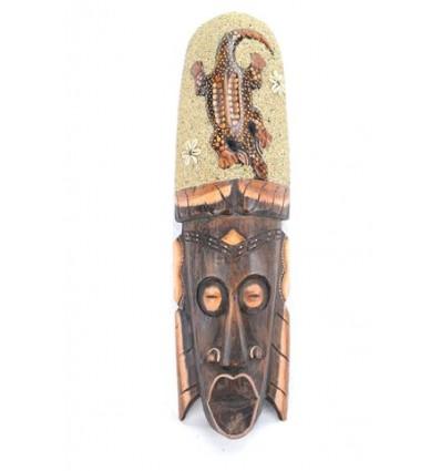 Masque Africain 50cm avec décor Gecko sable et coquillages Cauris