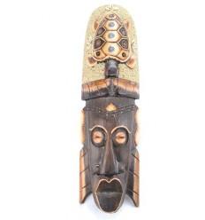 Masque Africain 50cm avec décor Tortue sable et coquillages Cauris