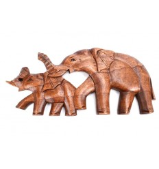 """Décoration murale """"Maman et bébé éléphants"""" 32cm en bois exotique sculpté"""