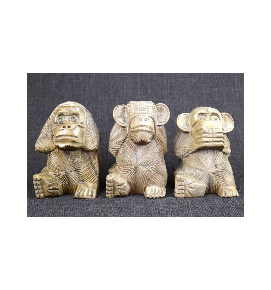 achat les 3 singes de la sagesse d co statuettes en bois. Black Bedroom Furniture Sets. Home Design Ideas