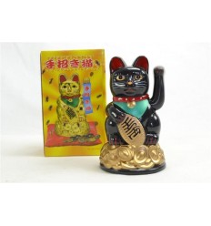 Maneki neko / Petit Chat japonais noir - Porte bonheur