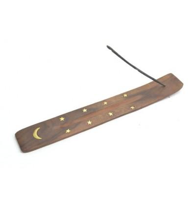 Porte-encens en bois motif Lune - pour batons