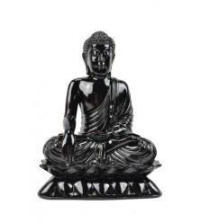 Statue de Bouddha assis en résine laquée noir brillant H24cm