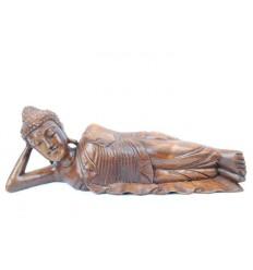 Statue de Bouddha allongé L40cm en bois massif sculpté main