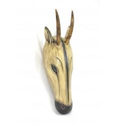 Masque / Trophée de chasse Tête de Gazelle 60cm en bois. Création artisanale.