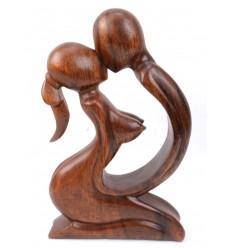 Statuette érotique couple sensuel en bois, cadeau coquin.