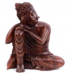 Statuette Bouddha penseur en bois. Déco import Asie.