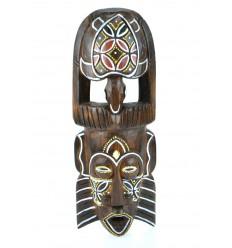 Masque Africain en bois 30cm motif tortue colorée.