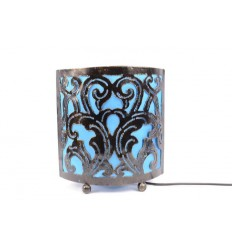 Lampe de chevet style marocain oriental fer forgé tissu turquoise