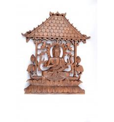 """Décor mural """"Temple de Bouddha"""" en bois massif sculpté main"""