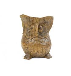 Statue Chouette / Hibou en bois exotique sculpté h12cm