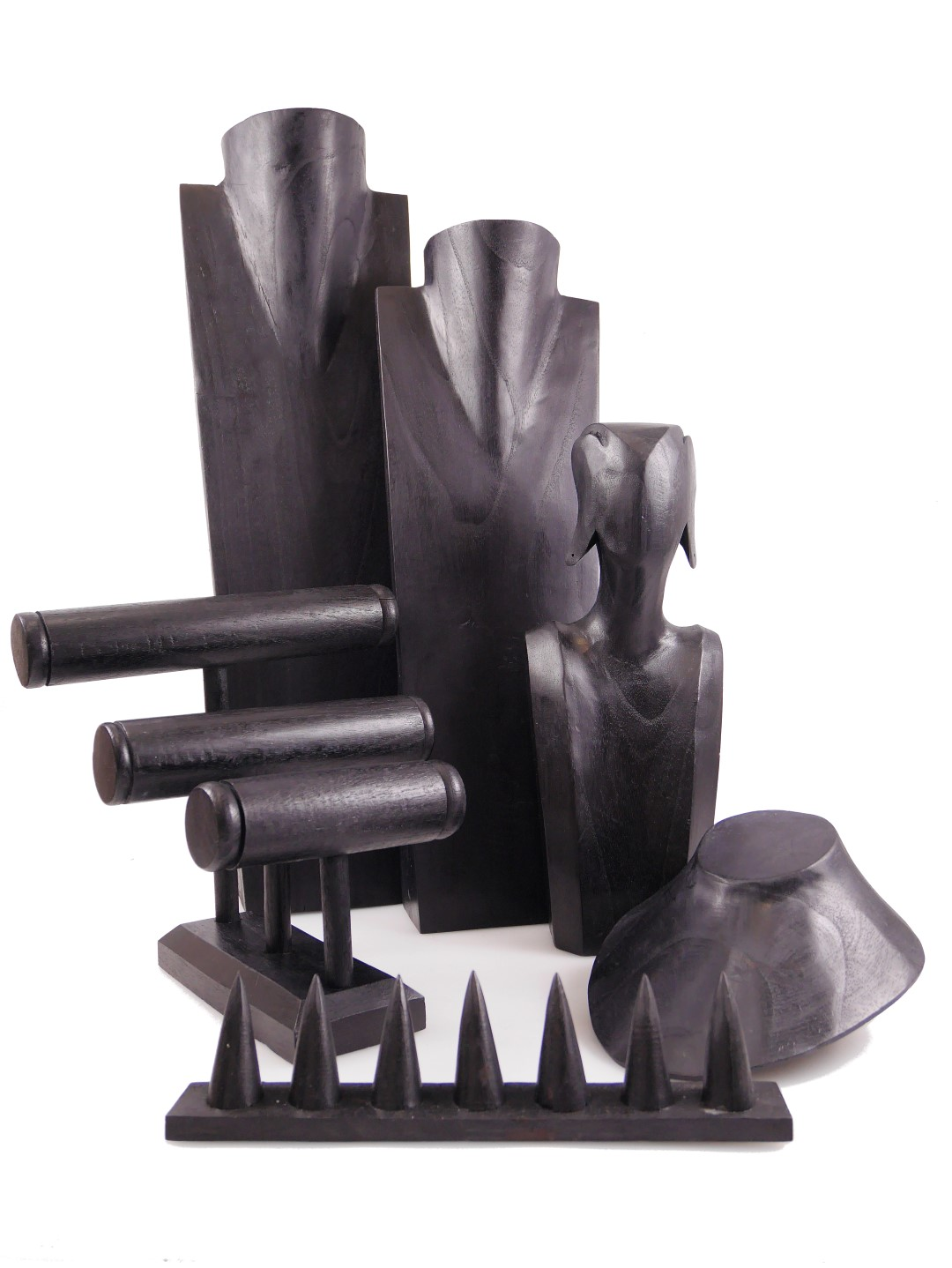 présentoir porte bijoux en bois noir artisanat coco papaya