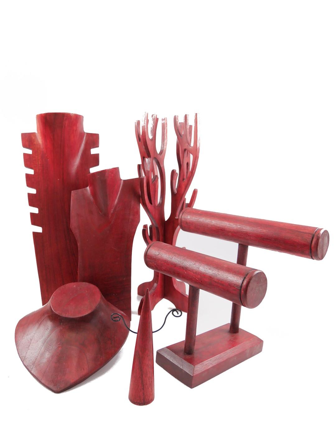 présentoir porte bijoux en bois rouge artisanat coco papaya