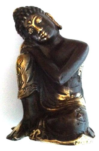 Statuette Bouddha penseur en bronze